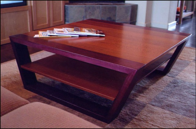 Purpleheart and lacewood coffee table coulbury design for Purple coffee table